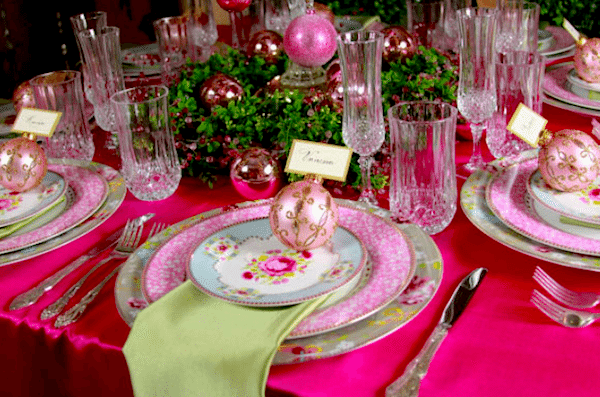 Pink and green winter wedding decor. Image provided by Baker Party Rentals