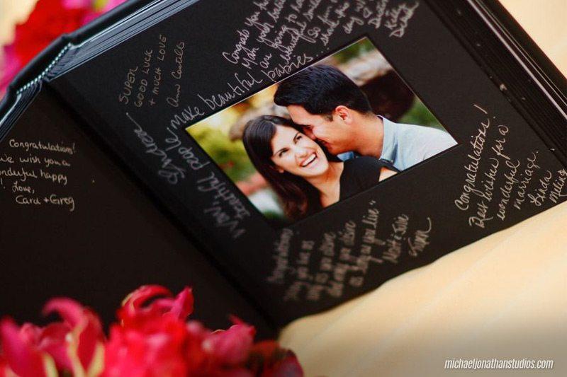 Wedding guestbook using engagement photos - weddingcompass.com - michael jonathan studios.com