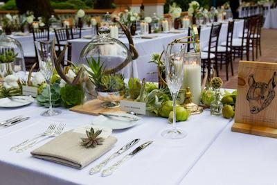 Succulents and coarsely woven napkins create a rustic feel. Image Provided By Rancho Las Lomas