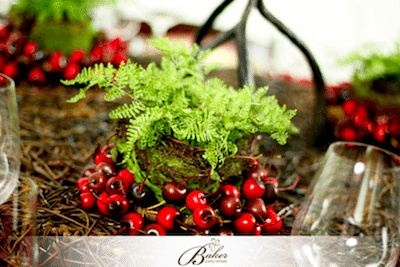 Cherries Add Color to Rustic Decor. Image Provided By Baker Party Rentals