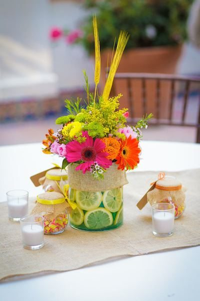 Sliced Lemons Create A Bright, Fresh Base For Flowers. Photography - Michael Jonathan Studios