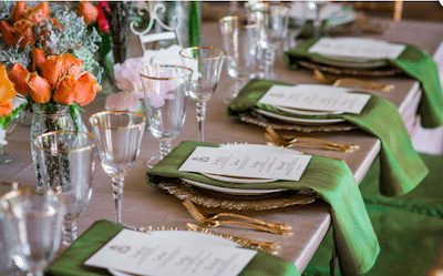Green Napkins Draped Over The Edge Of The Table Enhance The Color Scheme. Image Provided By Robert Evans Photography