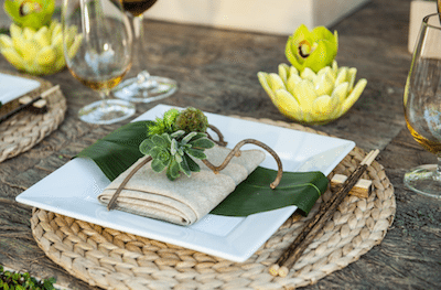 Set A Rustic Table With A Coarsely Woven Napkin Topped With Succulents And Twigs. Image Provided By Square Root Event Design