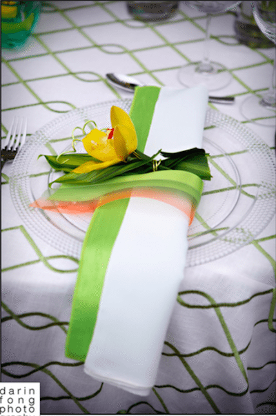 Colorful Ribbon And A Fresh Flower Add To The Spring Theme. Image Provided By Square Root Event Design