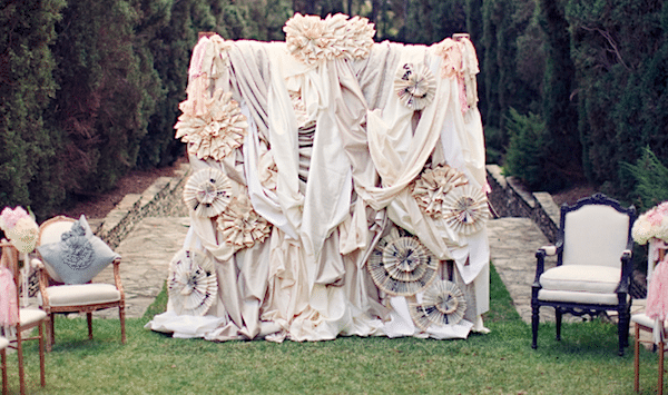 Fun and interesting wedding backdrop. Image provided by A Good Affair Event Design