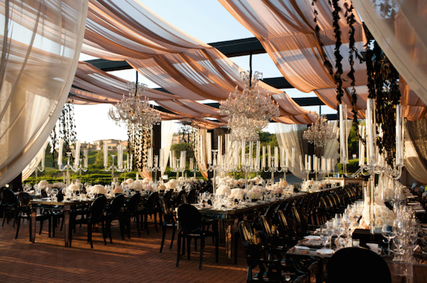 Airy and romantic outdoor room. Image provided by White Lilac Event Design