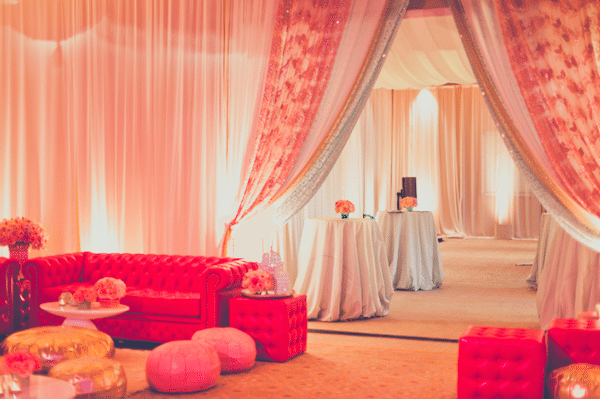 Transform a large space into inviting conversation spaces.. Image provided by White Lilac Event Design