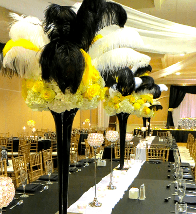 Flowers and ostrich feathers set the stage for an elegant event Image provided by The Finishing Touch Event Design