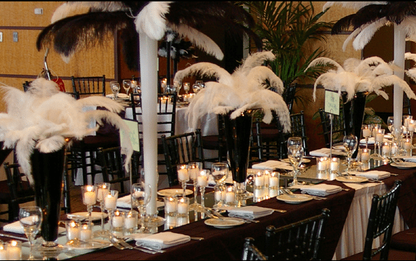 Feathers create a modern style Image provided by The Finishing Touch Event Design