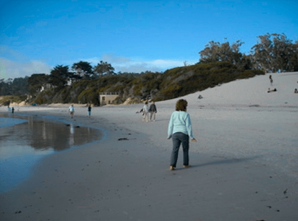 Carmel's wide sandy beach is an easy walk from the village and hotels.