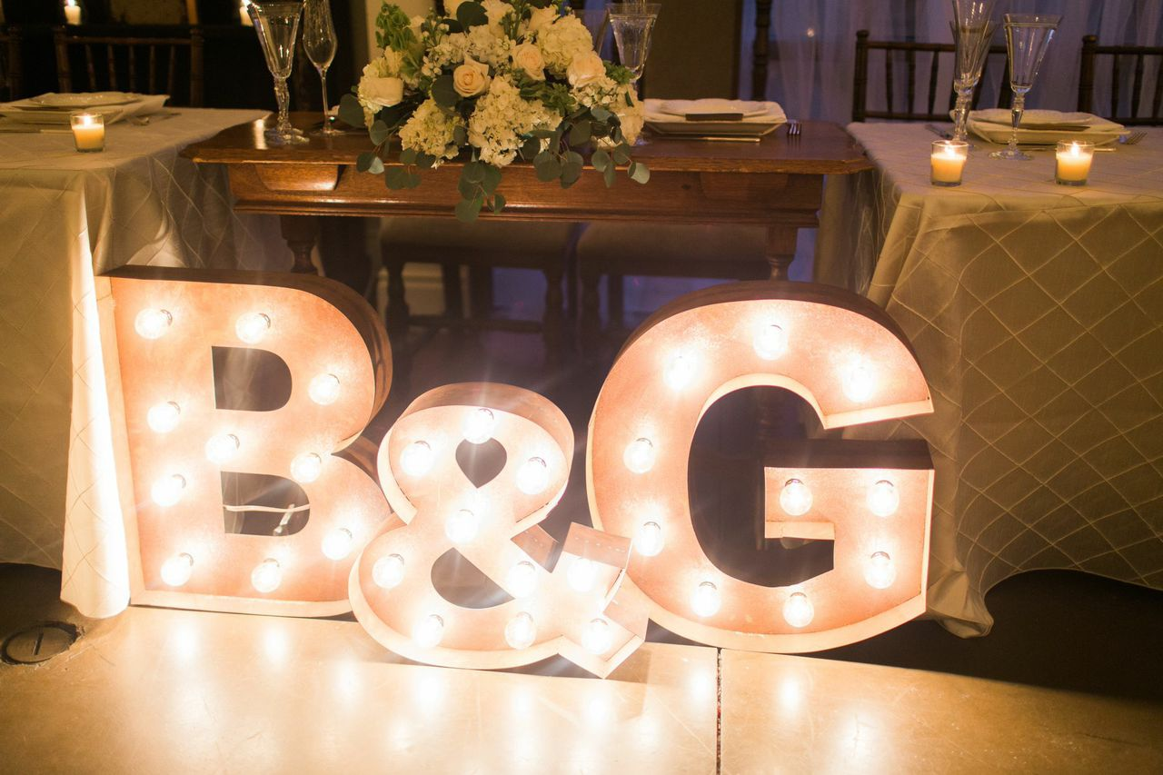 Give your initials a staring roll with marquee letters. Image provided by Signature Party Rentals Photography by Rachael McCall Photography
