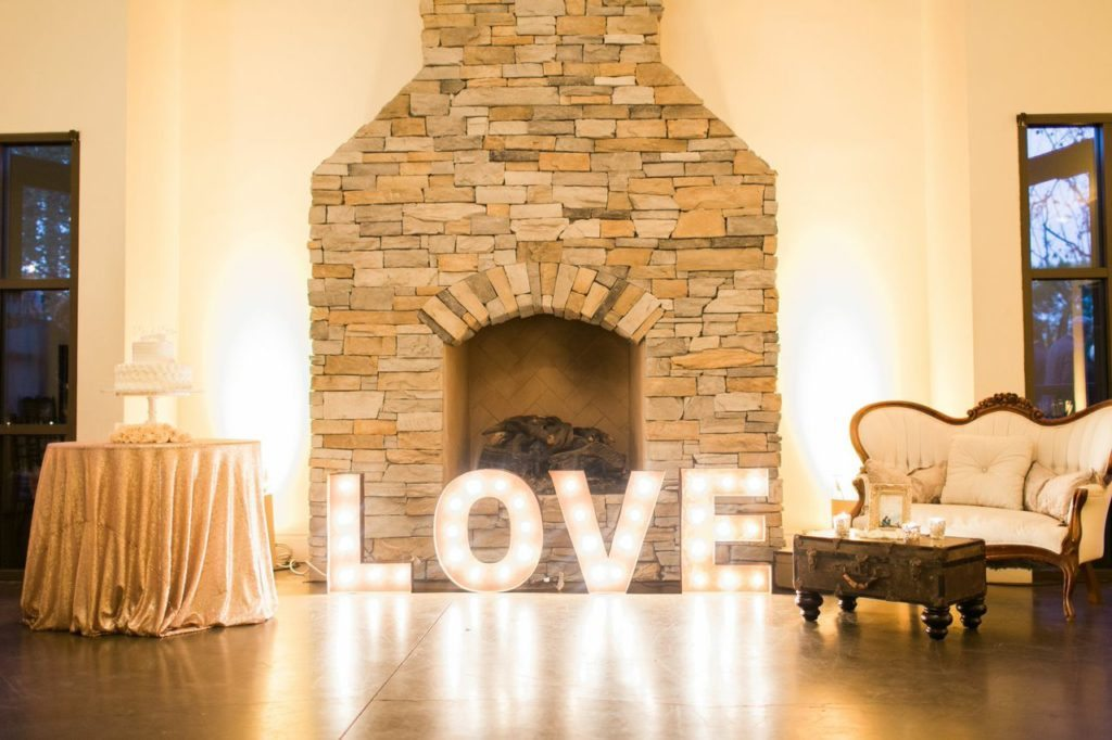 Marquee letters create a lovely reflection. Image provided by Signature Party Rentals Photography by Rachael McCall Photography