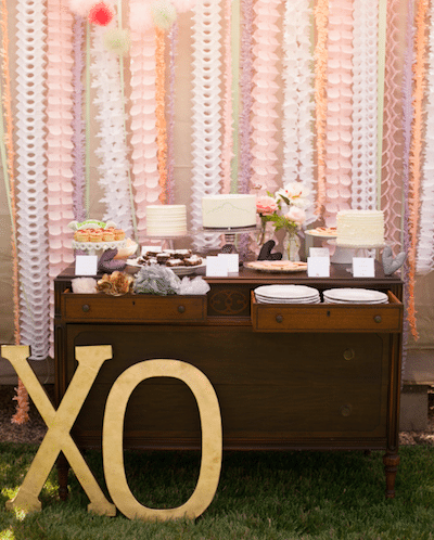 Wooden letters draw attention to charming dessert display. Planning and design: A Good Affair Wedding and Event Design Photography by Studio EMP
