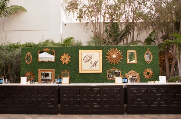 Initials take center stage on this lovely backdrop.<br /> Planning and design: A Good Affair Wedding and Event Production<br />