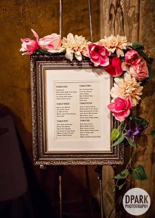 A framed seating list - photo by D Park Photography - WeddingCompass.com