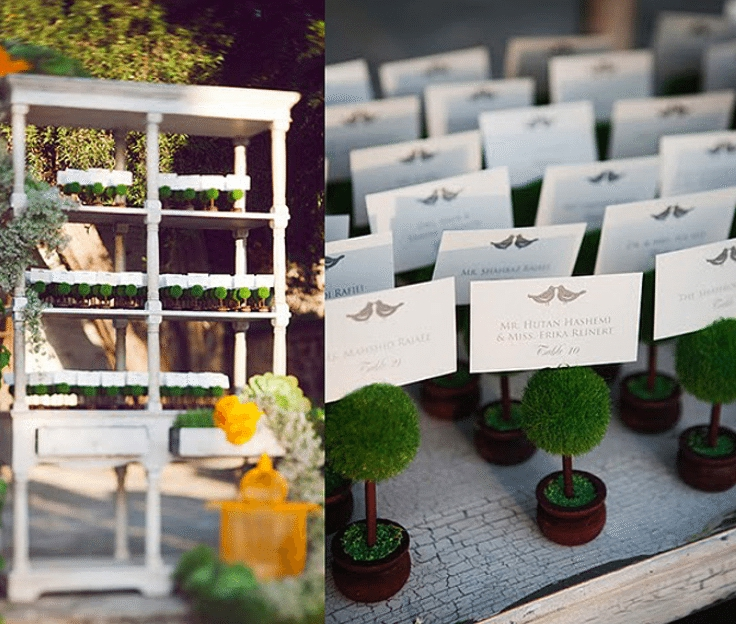 miniature topiaries vintage shelf unit are perfect for a garden event - Image provided by Tic Tock Couture Florist - WeddingCompass.com