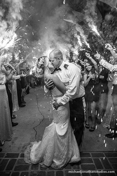 Michael Jonathan Studios Black & White Photo Sendoff with Fireworks - WeddingCompass.com